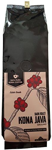 Kona Coffee by Kona Java - 100% Pure Fancy Hawaiian Beans, Not a Blend - Kona Ground - Gourmet Dark Roast - Grown on Real Hawaii Volcanic Soil and Freshly Roasted by Kona Java