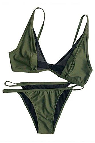 Cupshe Fashion Women's s Solid Color Mesh Splicing Bikini Set Beach Swimwear, Olive Green (M)