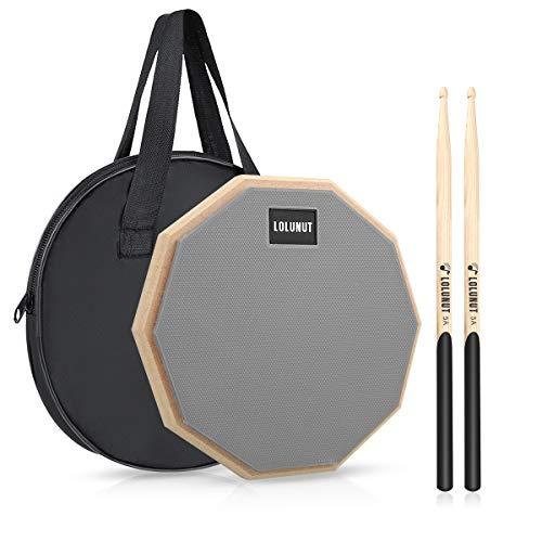 LOLUNUT 12 Inch Silent Drum Pad, Dumb Drum Beginner Rubber Practice Pad, with 5A Drum Sticks &Storage bag (Gray)