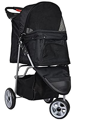 VIVO Three Wheel Pet Stroller, for Cat, Dog and More, Fordable Carrier Strolling Cart, Multiple Colors from Vivo