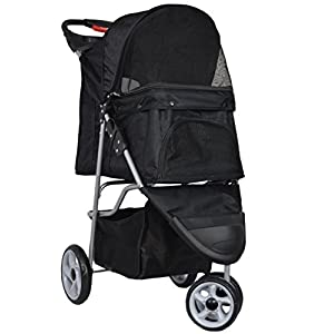 VIVO Three Wheel Pet Stroller, for Cat, Dog and More, Fordable Carrier Strolling Cart, Multiple Colors 12