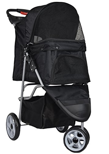 VIVO Black 3 Wheel Pet Stroller for Cat, Dog and More, Fordable Carrier Strolling Cart (STROLR-V003K)