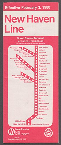 Metropolitan MTA/CDOT New Haven Line timetable 2/3 1980 8/16 1980 revision