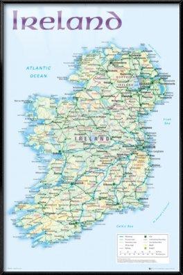 Map Of Ireland - Framed Poster / Print