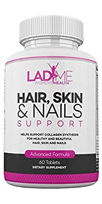 Hair Skin & Nails Dietary Supplement with Rich Vitamin C, Vitamin E & B6 for High Collagen Synthesis - Rich Biotin for Hair Growth, Skin Glow & Nail Strength Especially for Women by LadyMe- 60 Tablets