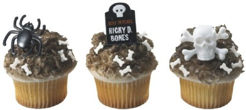 12 Halloween Spiders, Skull, & Tombstones Cupcake Rings Party Favors by DECO