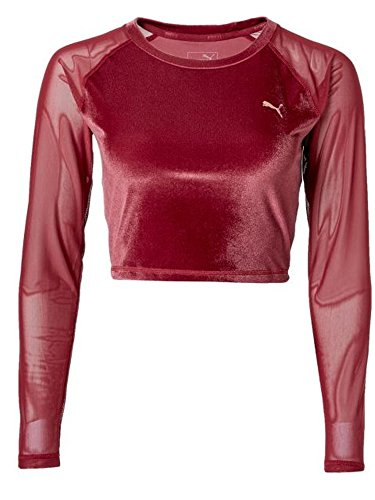 PUMA Women Explosive Long Sleeve Velvet Crop Top 516560-02 (Medium)