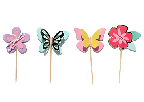 Butterfly Garden- Cupcake Toppers | Gold Foil | Flower, Butterfly Cake Toppers | Birthday | Baby Shower | Floral Theme | Party Supply | Spring Theme Party | Food - Cupcake Garden