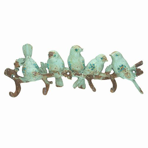 JEWELLED BIRDS IRON WALL HOOK 10x3.625''h by World Buyers