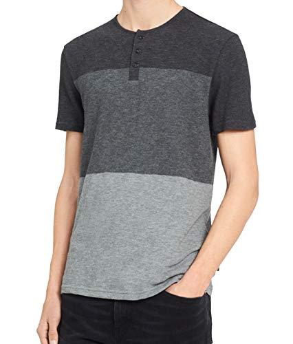 Calvin Klein Jeans Men's Short Sleeve Henley Tri Color Block Shirt, Dark Charcoal Heather, 2XL