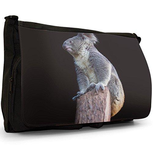 Sentado En Bolso Mensajero Escuela Koala El Ordenador De Portátil Bolsa Negro Gran De Australiano Tronco Lona De Koala Árbol n1w6qOSw