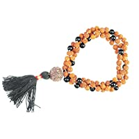 Necklace Rudraksha, Black Agate Stone Beads YOGA Prayer MALA
