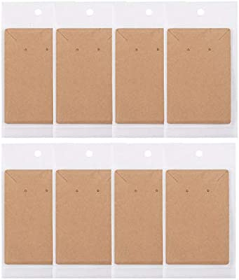 Wicket 110 Pcs Earring Cards,Earring Card Holder,3.5inch x2.4inch Kraft Earring Necklace Display Cards,Blank Kraft Paper Tags with 110 Pcs Self-Sealing Bags