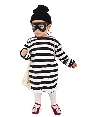 Coskidz Kids Burglar Robber Halloween Cosplay Costume Including Eye Mask Hat and Candy Bag (One -