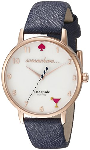 kate spade new york Women's KSW1040 Metro Watch with Textured Leather Band
