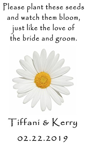 [Personalized Wedding Favor Wildflower Seed Packets White Daisy Design 6 verses to choose from] (Wedding Favors Wildflower Seeds)