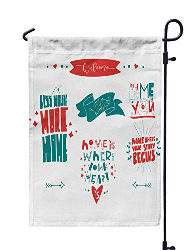 Shorping Decorative Outdoor Garden Flag, 12x18Inch Home Collection Handwritten Modern Lettering Set with Decorative Doodle for Holiday and Seasonal Double-Sided Printing Yards Flags