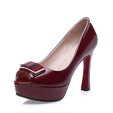 LvYuan Mujer-Tacón Stiletto-Confort Zapatos del club-Sandalias-Boda Vestido Fiesta y Noche-Cuero Patentado-Negro Rojo Almendra Black