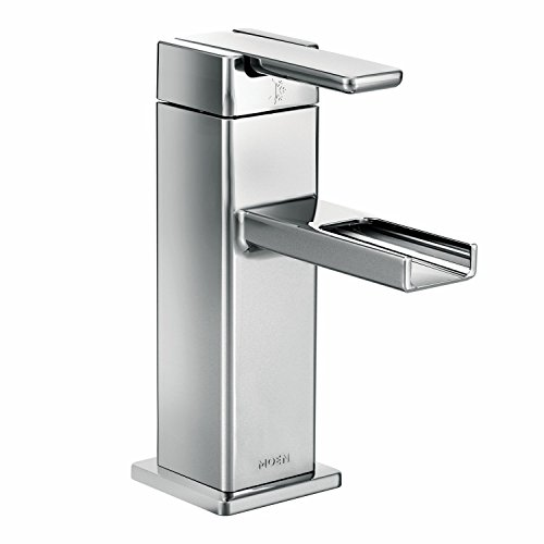 Moen S6705 90-Degree One-Handle Low-Arc Open Waterway Bathroom Faucet with Drain Assembly, Chrome