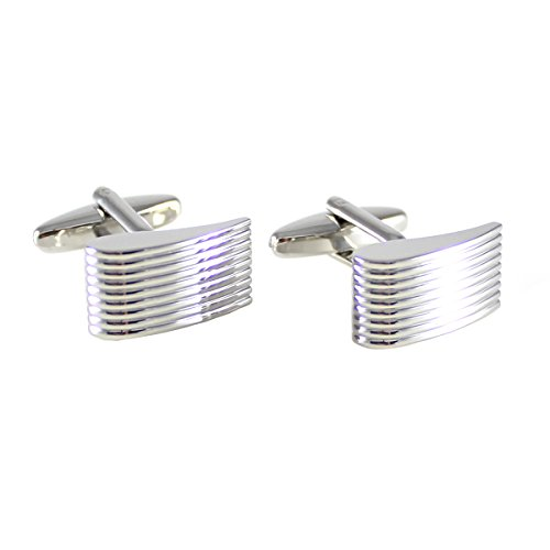 MANDEPOT Classic Rhodium Plated Groove Lines Cuff link With Box - Rhodium Plated Classic Line