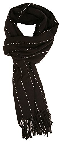 Love Lakeside-Men's Cashmere Feel Winter Plaid Scarf (One, Black with White Pinstripe)