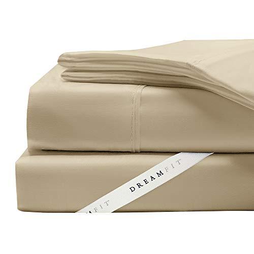 (DreamFit 4-Degree 400 Thread Count Preferred 100-Percent Egyptian Cotton Sheet Set, Queen, Truffle)