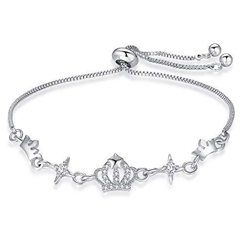 3UMeter Crown Crystal Station Women Bracelet Adjustable Alloy Sliding Bolo Silver Bracelet Bohemian Bead Bracelet for Girls ()