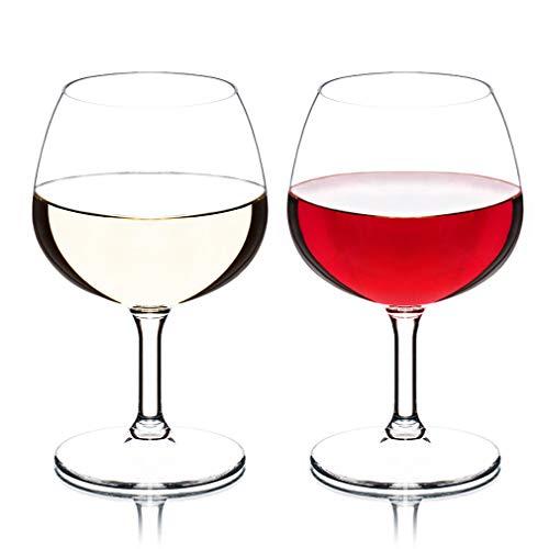 MICHLEY Unbreakable Stemmed Wine Glasses, 100% Tritan Plastic Brandy Snifter Glasses, BPA-free & Dishwasher Safe, Shatterproof Plastic Wine Glasses 8.8 oz, Set of 2 ()