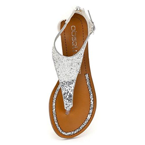 Modello Obsel Sandali Bassi Scarpe Argento Infradito Glitter amp;Scarpe in gaSaPw