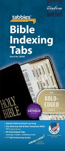 Catholic Goldtone-Edged Adhesive Old and New Testament Bible Indexing Tabs