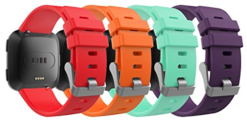 MoKo Fitbit Versa Band for Women Men, [4 PACK] Premium Soft Silicone Watch Band Replacement Strap Band Bracelet for Fitbit Versa Fitness Wristband, Fits 5.11''-7.68'', Multi Colors D by MoKo