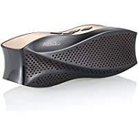 Avido [Platinum Series] Oceana Portable Wireless Bluetooth Speaker - HD Sound with Clean Bass, Auxiliary Connection, Voice Prompts, Micro SD Card Support, and Rechargeable Battery– Black/ Gold