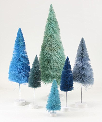 Cody Foster Rainbow Blue Christmas Tree Set of 6 Assorted Colors Sizes -  MS-427-B