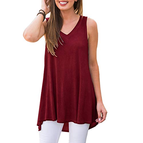 AWULIFFAN Women Solid Sleeveless Tunic for Leggings Swing Flare Tank Tops(Wine red,XL)