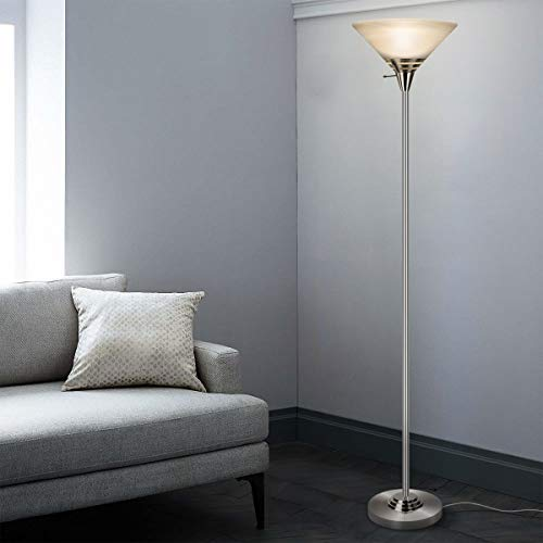 Oneach Modern Torchiere Floor Lamp 150-Watt Light with Frosted Glass Shade for Reading Living Room and Bedroom (Silver)