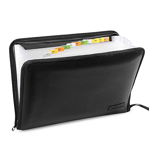 - Simboom Fireproof File Folder, 13 Pockets Expanding Organizer with Zipper Closure, Waterproof Document Holder with A4 Size Non-Itchy Silicone Coated Portable Filing Pouch(14.3