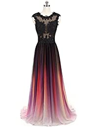 Beaded Top Gradient Color Evening Gowns Chiffon Bridesmaid Dress
