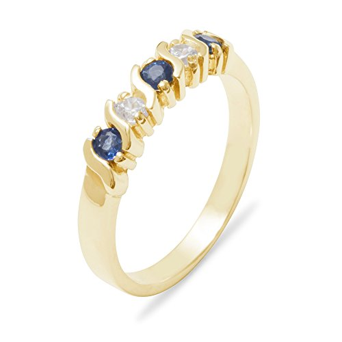 10k Yellow Gold Natural Sapphire & Diamond Womens Wedding Band Ring - Size 9.5 (0.11 cttw, H-I Color, I2-I3 -