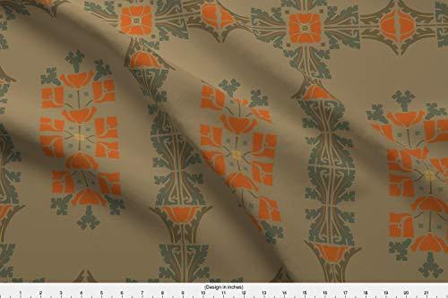 19th Century Fabrics - Spoonflower Victorian Fabric - Edwardian 19Th Century Poppies Uhlenkott Craftsman Art - by Muhlenkott Printed on Silky Faille Fabric by The Yard