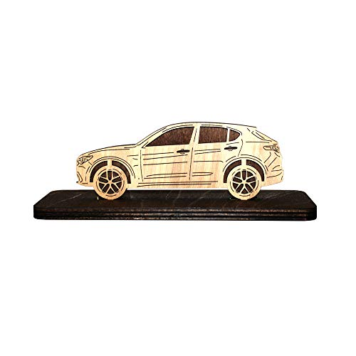 Car Wood Figurine for Alfa Romeo Stelvio Plywood Sideview Statuette Gift Home Office Decor