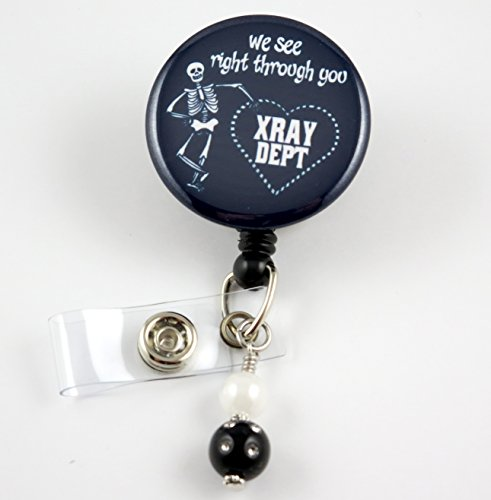 X Ray Department Black - Nurse Badge Reel -Retractable ID Badge Holder - Nurse Badge - Badge Clip - Badge Reels - Pediatric - RN - Name Badge Holder