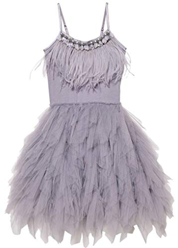 Big Girls Sequins Feather Layered Ruffled Flower Girl Pageant Dress,Grey -