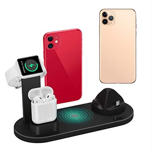 Wireless Charger 4 in 1 Charging Dock for iWatch 5 and Airpods Charging Station Charging Stand for iPhone 11/11Pro/11 Pro Max/X/XS/XR/Xs Max 8/8 Plus (Note: iWatch Magnetic Charger is not Included)