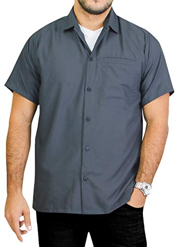 LA LEELA Rayon Camp Button Down Men's Shirt Grey Large | Chest 44'' - 48'' by LA LEELA