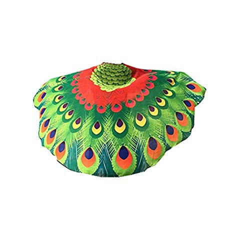 Theme Party Soft Fabric Peacock Wings Shawl Fairy Ladies Nymph Pixie Costume Accessory Jecket Cool Cape Red]()