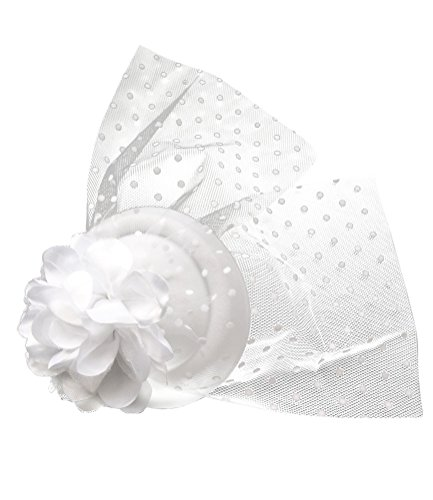 Cocktail White Top Hat Headband (Fascinator Hair Clip Head Hoop Veil Wool Flower Hat Derby Cocktail Party Wedding (White))