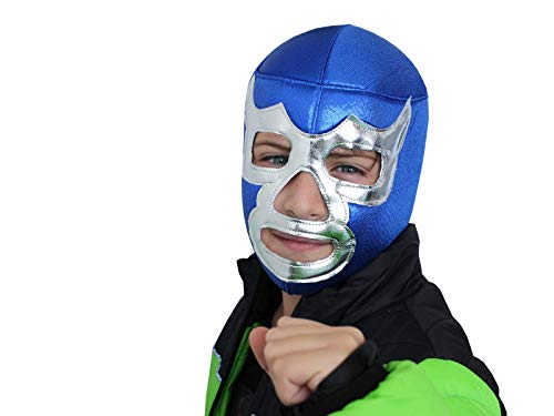 BLUE DEMON Youth Lucha Libre Wrestling Mask (Kids - Fit) Costume Wear Mask for Children