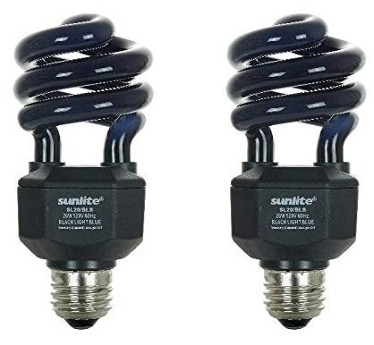 Sunlite SL20/BLB 20 Watt Spiral Energy Saving CFL Light Bulb Medium Base Blacklight Blue (2 Pack) ()