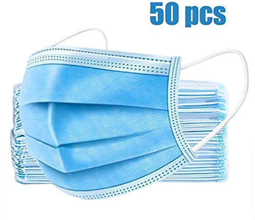 50pcs 3-Ply Disposable Face Mask Can be Used in Offices, Households Sensitive to Pets, and Crowded Places, with Elastic Earloop Random Color (Blue White)
