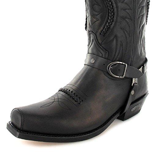 Sendra Boots 3434 Sprinter Zwarte Leren Laarzen Voor Vrouwen En Mannen Biker Boots Black